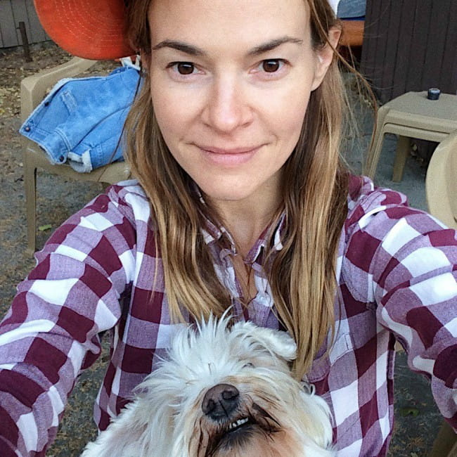 Leisha Hailey in a selfie with her dog as seen in January 2020