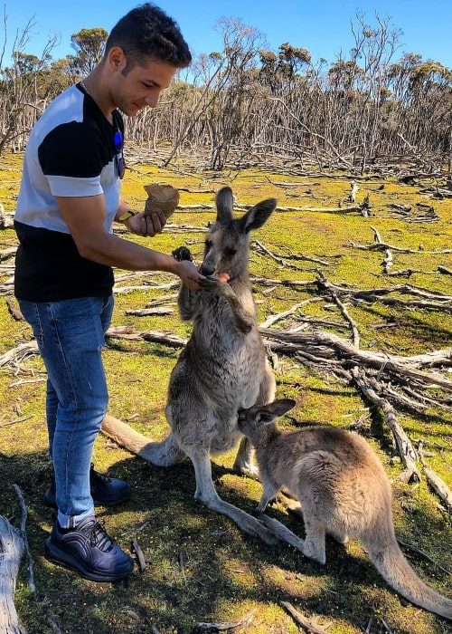 Lorenzo Dalla Porta as seen in a picture taken while he was feeding a mother Kangaroo in Australia in October 2019