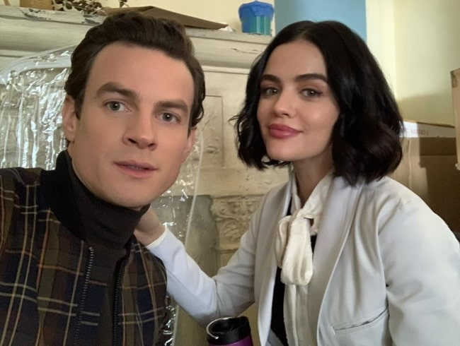 Luke Cook clicking a selfie along with Lucy Hale in January 2020