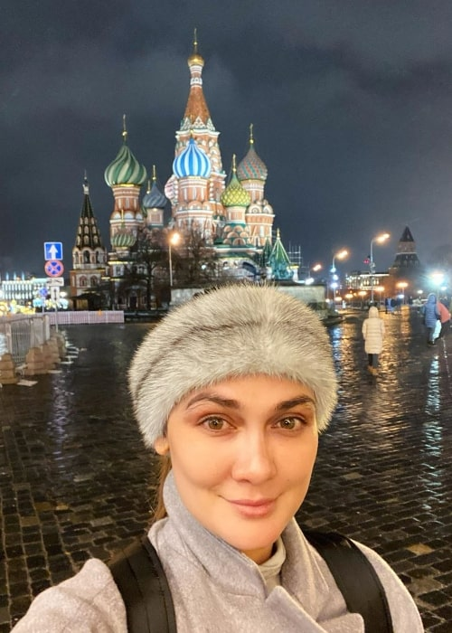 Luna Maya as seen while smiling in a selfie at Moscow Kremlin in Moscow, Russia in February 2020