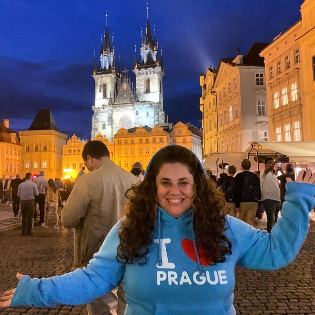 Marissa Jaret Winokur smiling in a picture taken during her time in Prague, Czech Republic in July 2019