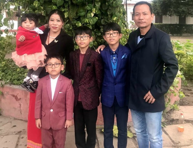 Mary Kom with her family as seen in January 2020