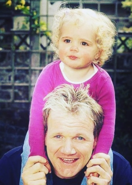 Matilda Ramsay as seen in a picture from her childhood days while sitting on the shoulders of her father Gordon Ramsay