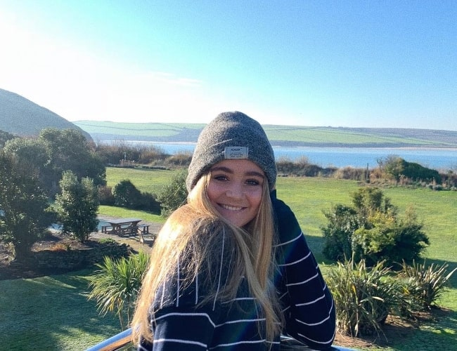 Matilda Ramsay as seen while smiling for a picture in Daymer Bay in north Cornwall, England, United Kingdom in December 2018