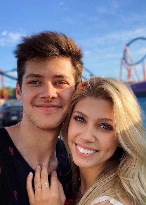 Matt Cornett as seen in a selfie taken with his girlfriend Brookelynn Elizabeth at Six Flags Magic Mountain in April 2019