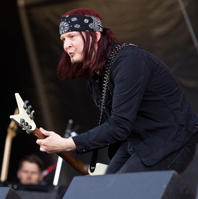 Michael Amott as seen while performing with Spiritual Beggars at the Rockharz Open Air 2016 in Germany