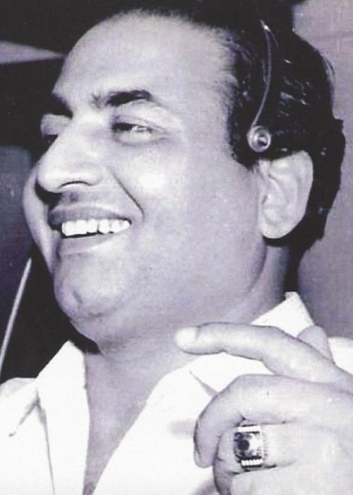 Mohammed Rafi as seen in a black-and-white picture