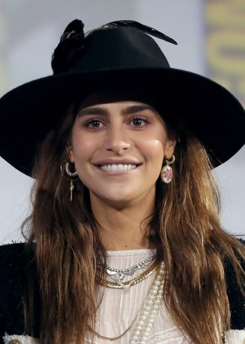 Nadia Hilker as seen while speaking at the 2019 San Diego Comic-Con International in San Diego, California, United States