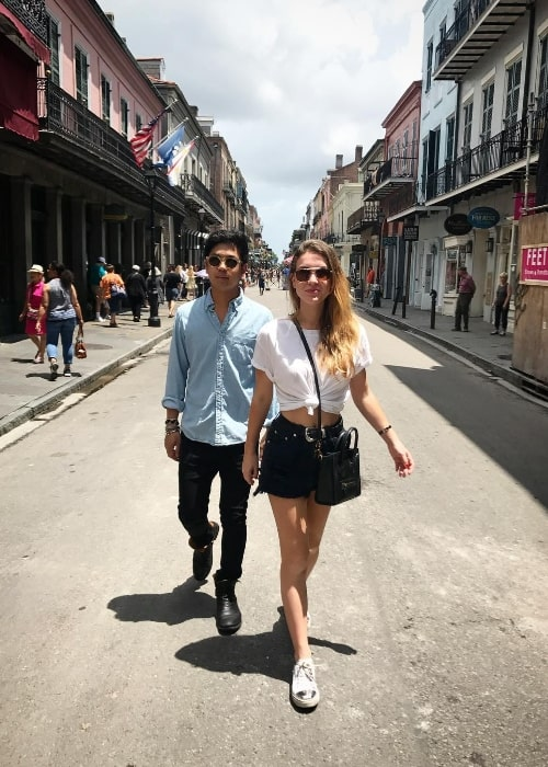 Nathalia Ramos and Derek An as seen while strolling around at the French Quarter in New Orleans, Louisiana, United States in May 2017