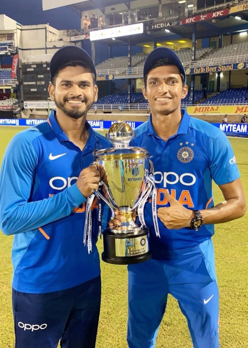 Navdeep Saini with Indian Cricketer Shreyas Iyer after the completion of a bilateral series in August 2019