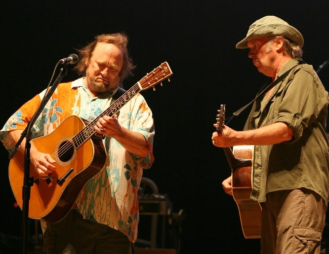 Neil Young (Right) and Stephen Stills performing during a 2006 tour