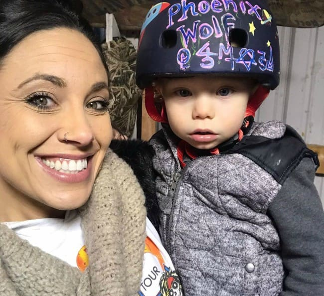 Nicole Boyd with her son as seen in February 2020