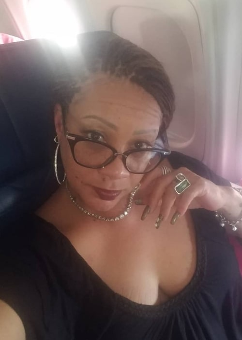 Patrice Lovely as seen in a selfie taken while in plane at the Chicago O'Hare International Airport in June 2019