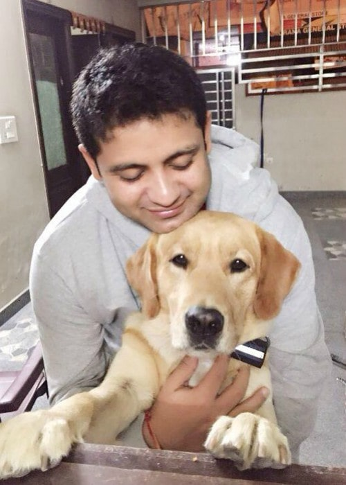 Piyush Chawla with his dog as seen in November 2018