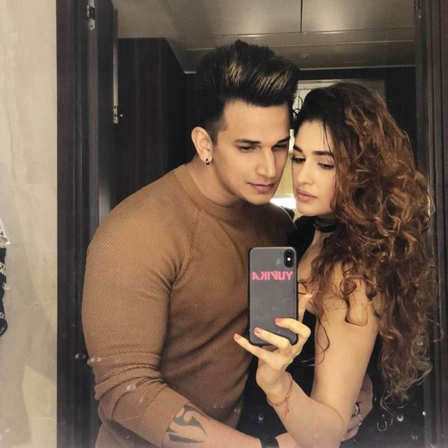 Prince seen with his wife Yuvika Chaudhary in 2018