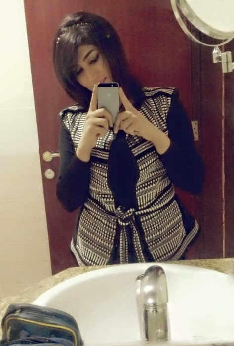 Qandeel Baloch as seen while clicking a mirror selfie