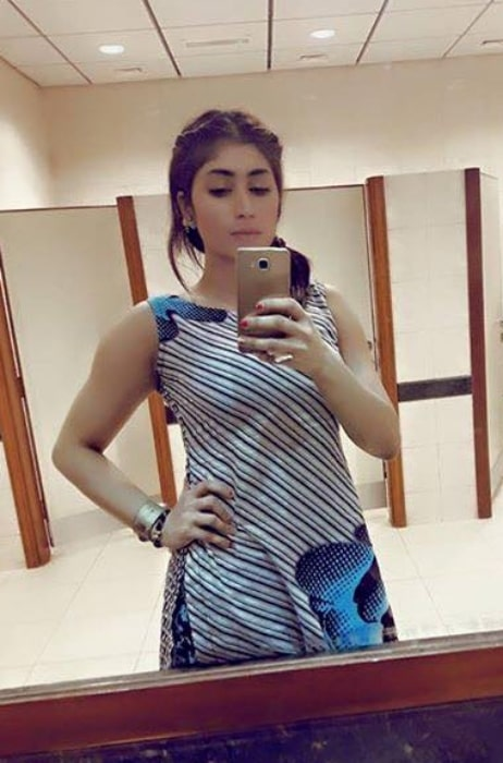 Qandeel Baloch as seen while taking a selfie