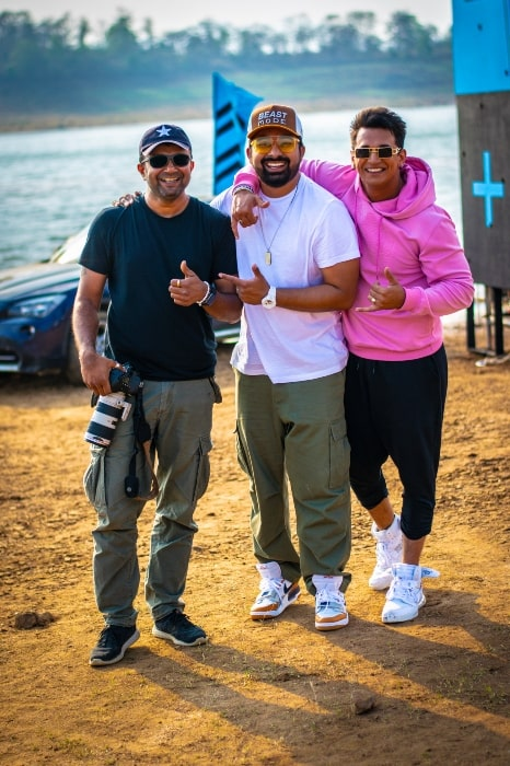 Rannvijay Singh along with Prince Narula and Ashish Parmar on the sets of MTV Roadies as seen in 2018-min