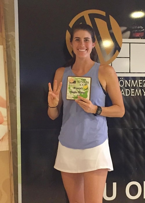 Rebecca Marino posing after winning 3 successive ITF Tournaments in Antalya, Turkey in February 2018