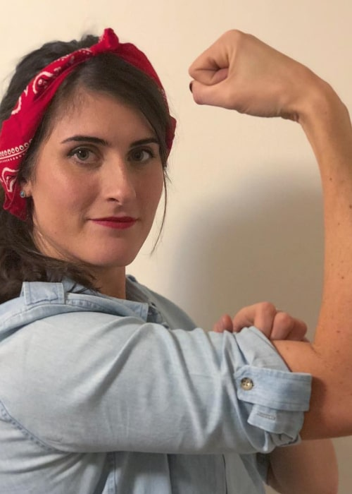 Rebecca Marino recreating a popular Internet meme for Halloween, in November 2018