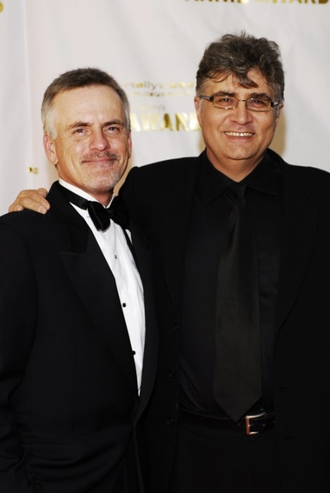 Rob Paulsen (Left) as seen while posing for a picture alongside Maurice LaMarche at the 2006 Annie Awards red carpet at the Alex Theatre in Glendale, California, United States