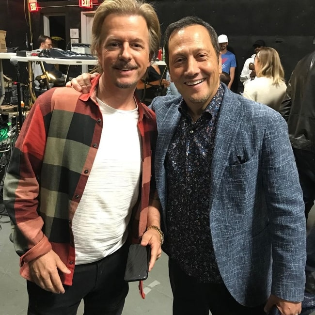 Rob Schneider (Right) posing for a picture alongside David Spade in September 2019