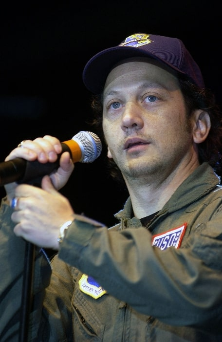 Rob Schneider performing for Aviano Air Base spectators at the USO Holiday Tour 2001 show
