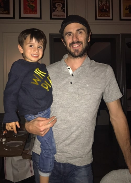 Ryan Miller as seen in a picture taken with his son Bodhi Ryan Miller in June 2018
