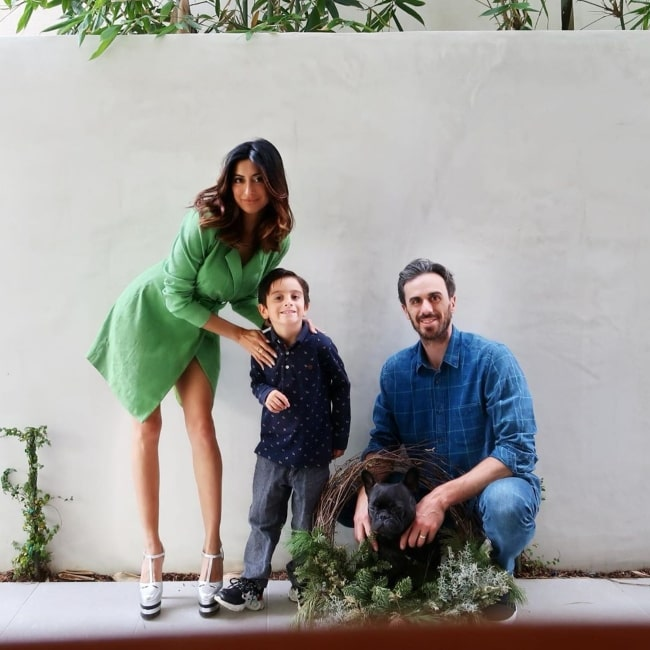Ryan Miller as seen in a picture taken with his wife Noureen DeWulf, son Bodhi Ryan Miller, and the family dog in Manhattan Beach, California in December 2019