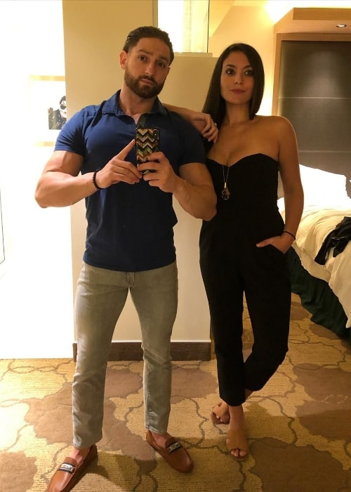 Sammi Giancola posing for a mirror selfie along with Christian Biscardi at Seminole Hard Rock Hotel & Casino, Tampa in December 2019