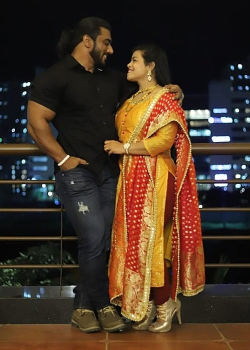 Sangram Chougule as seen in a picture taken with his wife Snehal Sangram Chougule on the day of her birthday in December 2019