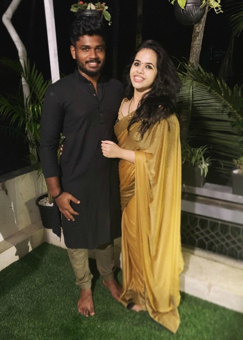Sanju Samson and Charulatha as seen in October 2019