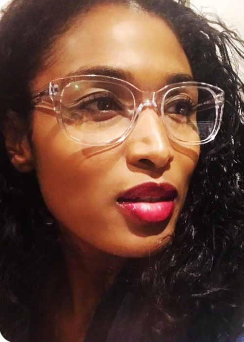 Sara Martins trying out her new pair of Glasses in November 2018