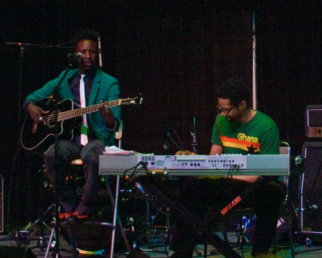 Saul Williams (Left) as seen while playing bass at a live show at SXSW 2008