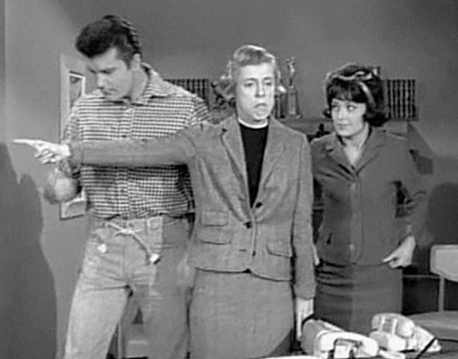 Sharon Tate alongside Max Baer Jr. and Nancy Kulp (Center) as seen in the television series 'The Beverly Hillbillies'