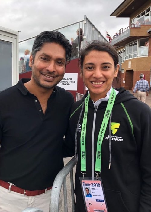 Smriti Mandhana and former Sri Lankan International Cricketer Kumar Sangakkara, as seen in July 2018