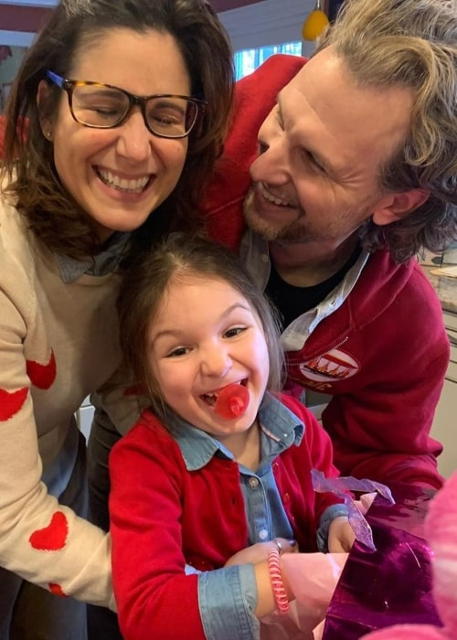 Stephanie J. Block as seen in a picture taken with her husband Sebastian Arcelus and their daughter Vivienne Helena Arcelus in February 2020