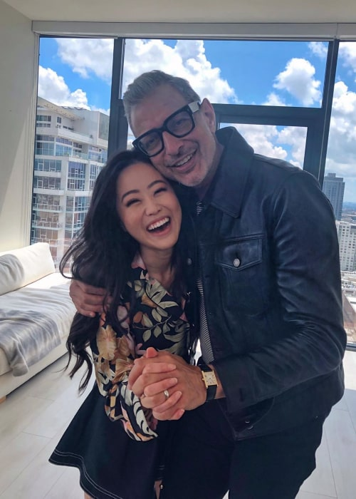 Stephanie Soo and American actor Jeff Goldblum during the shoot for a mukbang video for Stephanie's YouTube Channel in May 2019