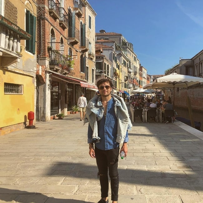 Taylor Gray as seen while posing for a picture in Venice, Italy in 2018