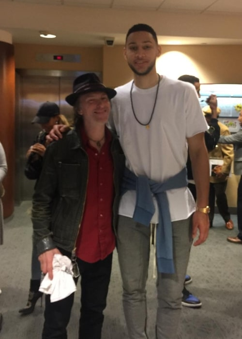 Tommy Stinson (Left) as seen while posing for a picture alongside Ben Simmons in April 2018