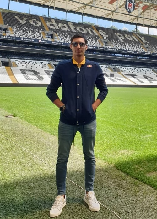 Toprak Razgatlıoğlu as seen while posing for a picture at Beşiktaş Vodafone Park Stadyumu in April 2019