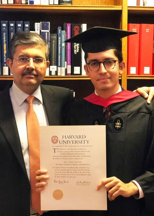 Uday Kotak (Left) with his son as seen in May 2017