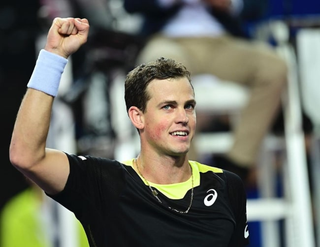 Vasek Pospisil after reaching the quarterfinal of the 2020 Open Sud de France in in Montpellier