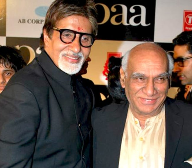 Yash Chopra (Right) as seen alongside Amitabh Bachchan at the premiere of 'Paa' in 2009