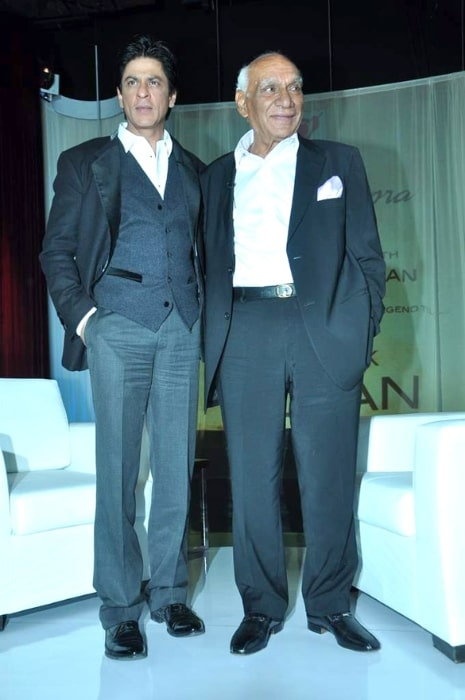 Yash Chopra (Right) as seen in a picture alongside Shahrukh Khan during his birthday party in October 2012