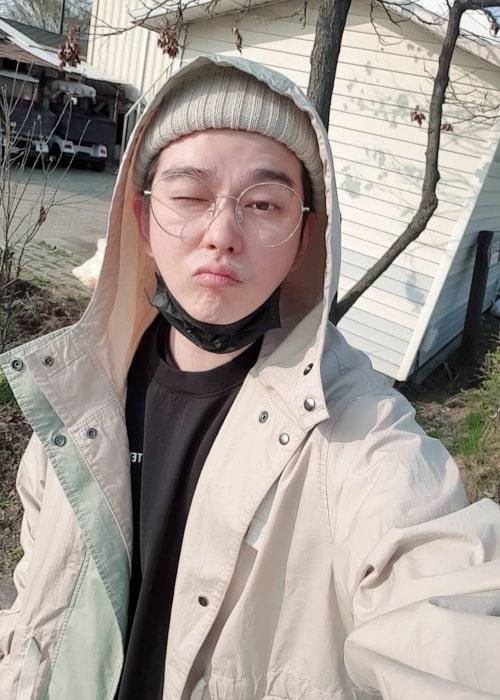 Yoon Kyun-sang as seen while taking a selfie in April 2019