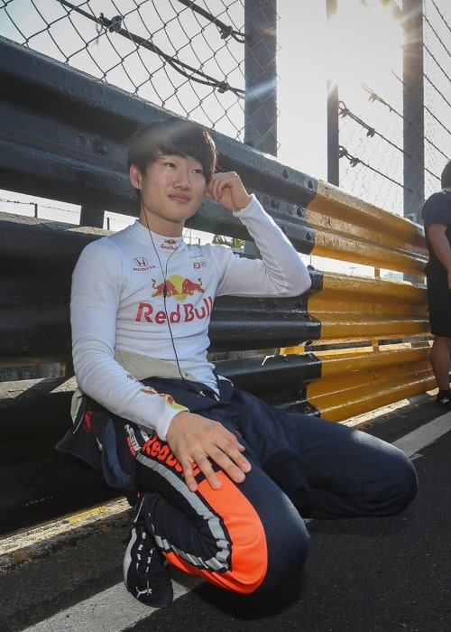 Yuki Tsunoda as seen in a picture taken while on the sidelines of a race track in January 2020