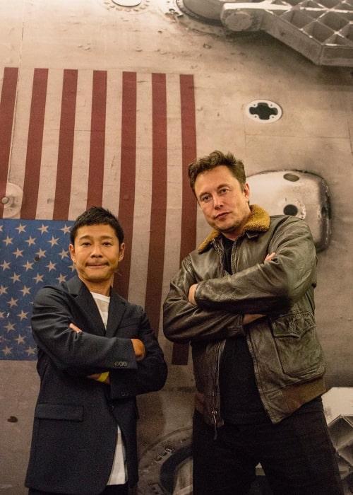 Yusaku Maezawa and Elon Musk as seen in September 2018