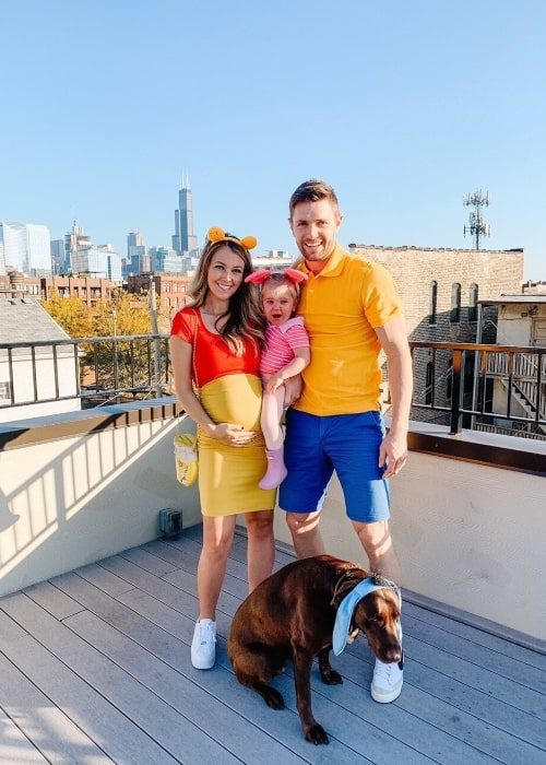 Zack Smith as seen in a picture taken with his wife Brittany Brodziack, daughter Rae Siena Smith, and his dog on the day of Halloween in November 2019