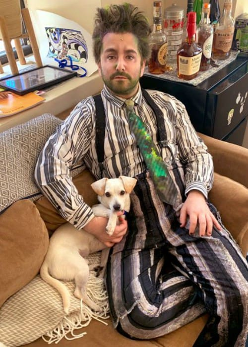 Alex Brightman with his dog as seen in August 2019